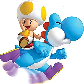 6 Inch Yellow Toad Blue Yoshi Mario Super Mario Bros Wii Brothers Removable Wall Decal Sticker Art Nintendo Home Kids Room Decor Decoration - 6 by 6 inches