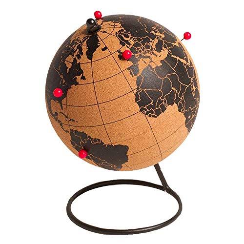 Sud Trading Globus aus Kork mit Standfuß und roten Nadeln, Durchmesser: 14,5cm