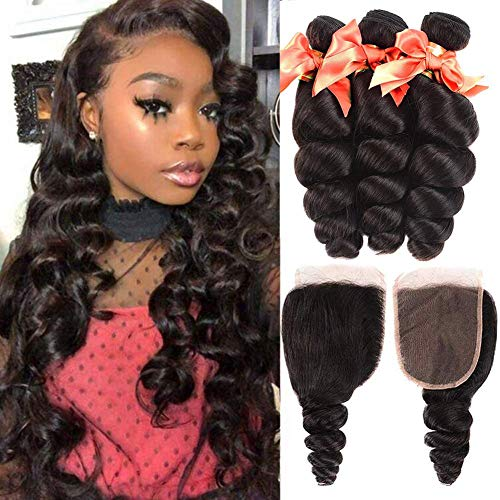 9A Loose Wave Bundles with Closure Brazilian Virgin Loose Curly Weave Bundles with 4X4 Free Part Closure 100% Unprocessed Human Hair Extensions Natural Black (14 16 18+12)