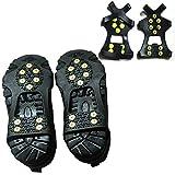JWKK Funda para Calzado Antideslizante para la Nieve, crampones de 10 Dientes, Funda Antideslizante para uñas de Acero Inoxidable, Adecuada para Hombres y Mujeres(S)