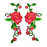 1 Set Peony Rose Embroidered Flower Patches with Gold Trimming Sew Iron on Floral Applique Motif (Rose)