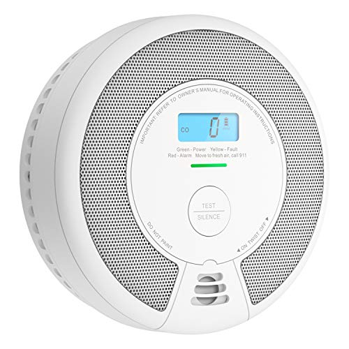 X-Sense 10-Year Battery (Not Hardwired) Combination Smoke & Carbon Monoxide Alarm Detector with LCD Display, Compliant with UL 217 & UL 2034 Standards, SC07