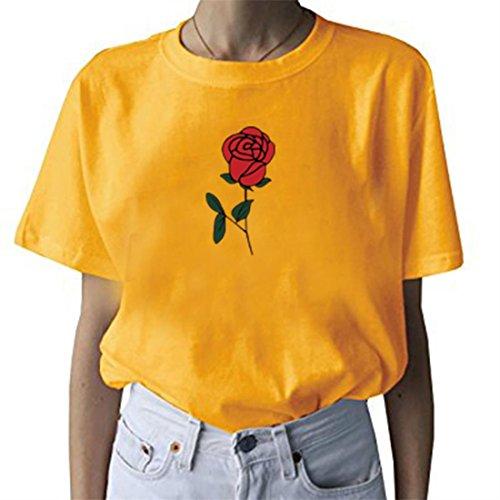 BLACKMYTH Women's Cute Graphic T Shirt Rose Tops Teen Girl Tees Yellow Large