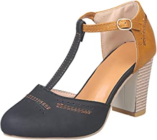 Susanny Heeled Sandals for Women T-Strap Buckle Mary Jane Pumps Vintage Oxford Shoes Summer Classic Fashion Sandal