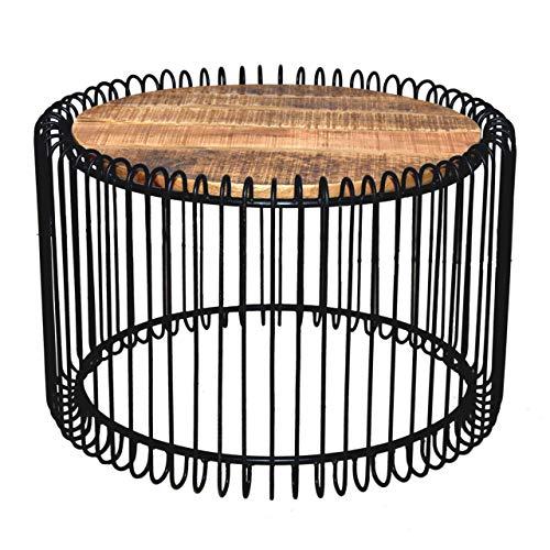 Soma salontafel rond ø 70 cm woonkamer tafel bijzettafel York metalen frame zwart mat of zuiver wit (BxHxL) 70 x 45 x 70 cm zwart mat - Tabacco