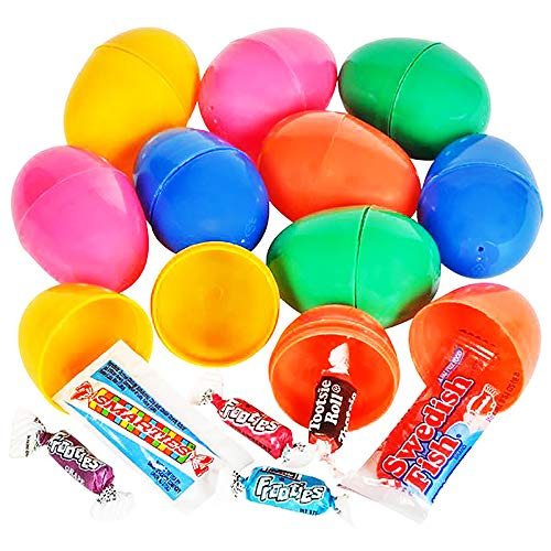 The Dreidel Company Candy Filled Easter Eggs Colorful Bright Plastic Easter Eggs, Perfect for Easter Egg Hunt, Surprise Egg, Easter Hunt, 2' Assorted Toys (20-Pack)