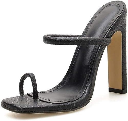 Glintare Slide Sandals for femmes Haut Haut Talon Chunky Mules Sabots Pantoufles Slip on Snake Pattern Cuir Synthétique Anneau Carré Toe Chaussures élégant (Couleur   Noir, Taille   37 EU)  livraison directe et rapide