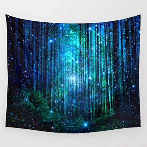 rtgergewrgh Hyha psicod/élico Bosque /árboles y Estrellas Tapiz Cielo Estrellado Tela Colgante de Pared decoraci/ón Cortinas de poli/éster m/ás Cubierta de Mesa Yoga
