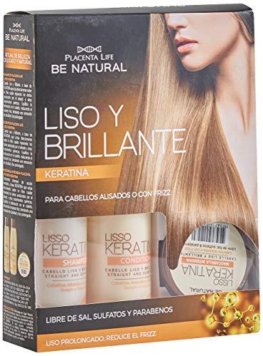 Be Natural, Kit con champú, acondicionador y mascarilla, para cabellos alisados o con frizz.