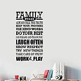 yaonuli Familienregeln Wandtattoo Vinyl Schriftzug tun Ihr Bestes, um oft motivierende Zitate Aufkleber57X32cm