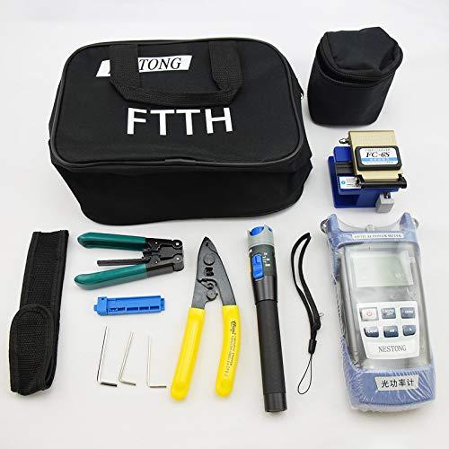 Fiberoptik FTTH Werkzeugset Glasfaser-Stecker-Kit inklusive LWL-Kabel-Tester visueller Fehlersucher, tragbarer optischer Leistungsmesser etc. Alle Werkzeuge