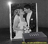 VIP-LASER 2D GRAVUR Glas Kristall Flachglas selbststehend Hochformat mit Deinem Hochzeitsfoto. Dein...