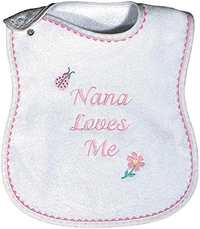 Raindrops Nana Loves Me Embroidered Bib Pink