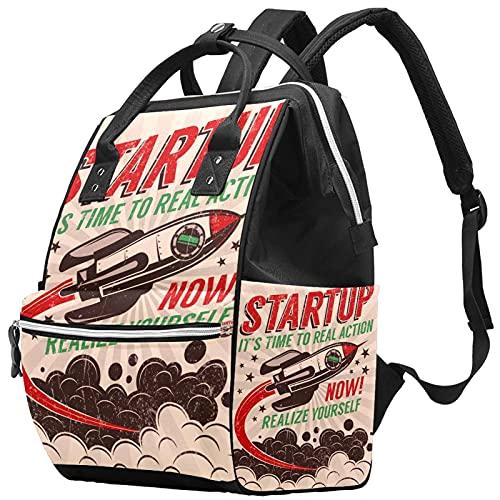 Yuelai Borsa per pannolini Zaino Zaino per laptop Zaino da viaggio per donna, Start Up Take-Off Rocket Retro Poster