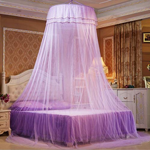 Lace Princess Dome Mosquito Net Mesh Bed Canopy Bedroom Home Decor (Purple)
