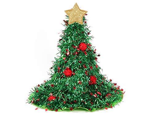 Alsino Weihnachtsmütze als Weihnachtsbaum (wm-134) | 40 cm hoher Tannenbaum Weihnachtshut mit Stern und Christbaumkugeln