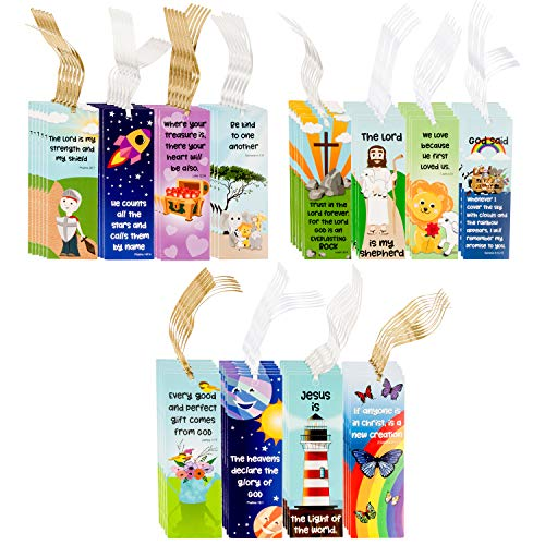 Faithful Finds 72-Pack Religious Christian Scripture Bookmarks for Kids with Bible Verse Quotes, 12 Assorted Designs, 6 x 2 Inches