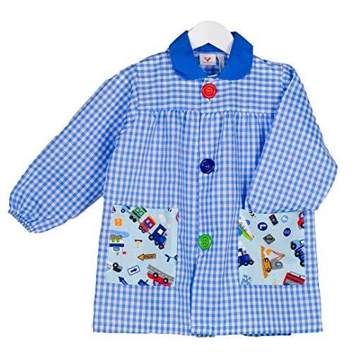 KLOTTZ COCHE - Babi colegial cochecitos. Bata escolar colegio bolsillos coches. Mandilón para la guardería y uniformes escolares. niños color: CELESTE talla: 4
