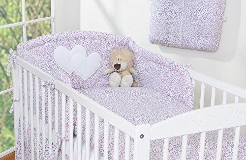 Tour de lit bébé liberty rose et vert à coeur - Fabrication européenne