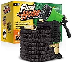 Flexi Hose with 8 Function Nozzle, Lightweight Expandable Garden Hose, No-Kink Flexibility, 3/4 Inch Solid Brass Fittings ...