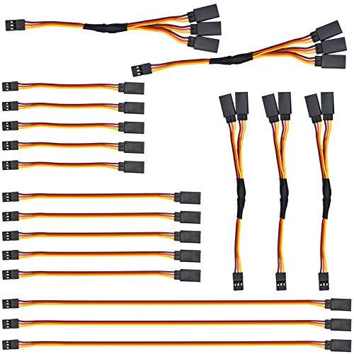 NATEE 18 Stück RC Servo Verlängerungskabel, 5pcs 100mm, 5pcs 150mm, 3pcs 300mm Servoverlängerung, 3pcs 1 auf 2 Y Kabel, 2pcs 1 auf 3 Kabel, JR Stecker Verlängerung für RC Flugzeug