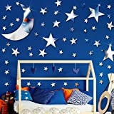 61 Pieces Acrylic Star Mirror Wall Stickers Moon Stars Wall Decal Silver Mirror Sticker Decors Removable Star Mirror Stickers for Kids Boy Girls Baby Room Good Night House Nursery Home Bedroom