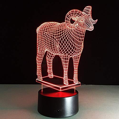 Forma de oveja animal Lámpara de ilusión LED 3D Luz nocturna Mesita de noche óptica Luces nocturnas 16 Cambio de color Botón táctil Decoración Lámparas de escritorio,