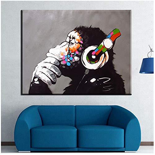 xwwnzdq Tier AFFE Leinwand Malerei Moderne Lustige Denken AFFE mit Kopfhörer Wandkunst Bild Drucke für Wohnzimmer Dekor Poster 60x80 cm Kein Rahmen
