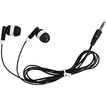 Wholesale Bulk Individually Bagged Earbuds Headphones 100 Pack for iPhone, Android, MP3 Player - Black