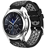 CreateGreat for Samsung Gear S3 Frontier and Classic Watch, Soft Replacement Breathable Sport Bands with Air Holes for Samsung Gear S3 Smart Watch Band(Black Grey)