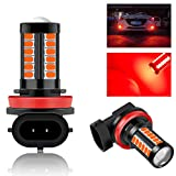 Teguangmei H8 H11 Car LED Fog Light Bulbs Replacement for Cars Super Bright 6000K Red 5730 33SMD for Daytime Running Lights DRL 12V-2Pcs