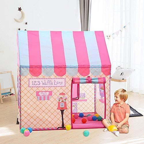 Pop Up Kids Play Tent, Boy Girl Castle Kinderen Playhouse voor Indoor en Outdoor Fun, Kinderen Toy House met roldeur en Windows,Pink