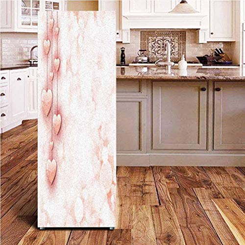 Angel-LJH Light Pink 3D Door Fridge DIY Stickers,Valentines Day Themed Composition with Cute Vivid Hearts Bokeh Effect Door Cover Refrigerator Stickers for Home Gift Souvenir,24x70