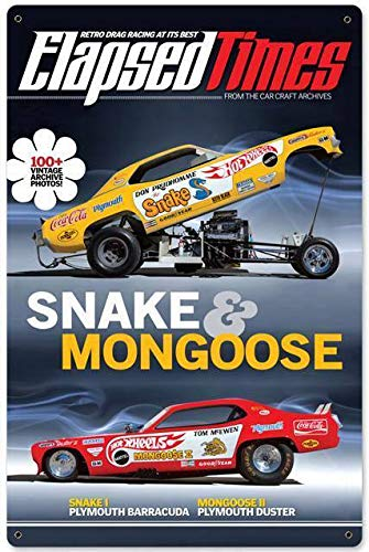 Tin Sign Vintage Chic Art Decoration Poster Hot Rod Elapsed Times Retro Drag Racing Snake & Mongoose for Store Bar Home Cafe Farm Garage or Club 12' X 8'