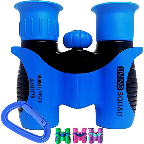 New Living Squad Kids Binoculars 8x21 - Kids Age 3-12, Shock Proof Compact Binoculars for Kids with ...