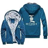 NIEWEI-YI Men's Casual Hooded Sweatshirts,Death Note Chaqueta con Capucha y Cremallera para Hombre, Forro Polar,L