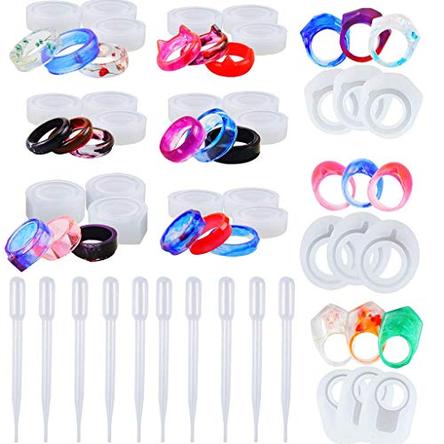 N/A. 27 moldes de silicona para anillos de resina – Anillo de dedo de cristal epoxi con 10 cuentagotas para bricolaje, collares, pendientes, llaveros de resina, crayones, manualidades de arcilla
