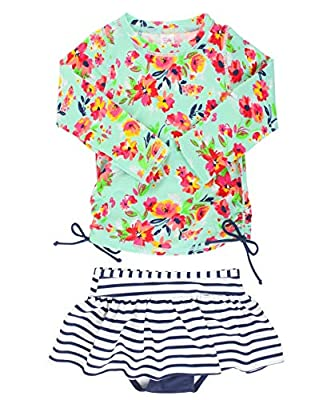 RuffleButts Baby/Toddler Girls Painted Flowers Long Sleeve Rash Guard Skirted Bikini - 3-6m