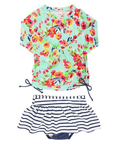RuffleButts Girls Painted Flowers Long Sleeve Rash Guard Skirted Bikini - 2T