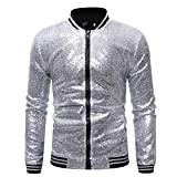 Omoone Men's Zip Up Mermaid Sequin Lightweight Shiny Clubwear Bomber Jacket (0480-Silver-M)