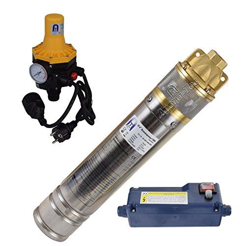 Agora-Tec® AT- 4 Zoll 750-3DW Hochdruck Tauchpumpe für Zisternen und Wassertanks inkl. Druckschalter mit Trockenlaufschutz für Haus und Garten mit max: 6,1 bar, 3000l/h