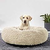 LINGHAN Cama para mascotas de peluche impermeable para perros grandes, cojín redondo de lujo para rosquilla, almohada y sofá de 120 cm de diámetro, lavable a máquina