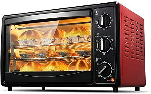 ZJDM Mini Horno Rojo de 30L Temperatura Ajustable 0-250 ℃ y temporización de 60 Minutos 6 Funciones de horneado Tres Capas Posición de horneado Puerta de Vidrio Templado 1500W