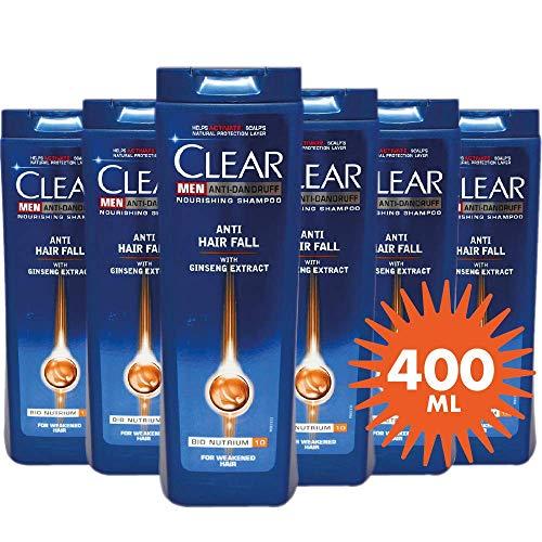 6x400ml Clear Anti-Schuppen Shampoo - Anti-Haarausfall mit Ginseng Für Mannen, Sparpack