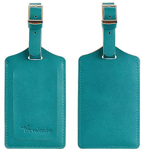 Travelambo Leather Luggage Bag Tags (Bright Green)