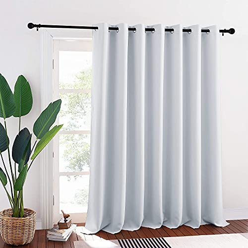 RYB HOME Room Darkening Patio Door Curtain, Hanging Room Divider Screen Insulated Drapes Privacy Wall Panel for Large Window / Bedroom / Living Room, 100 inches W x 95 inches L, Greyish White