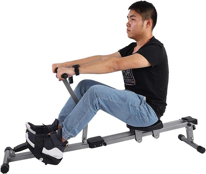 Vogatore per fitness professionale 12 livelli di resistenza e 3 altezza regolabili, argento e nero B07XF97KGQ