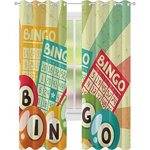 Cortinas de bloqueo de luz, juego de bingo con bola y tarjetas Pop Art estilizado lotería Hobby Celebration Theme, 2 paneles W52 x L63 Cortinas opacas para habitación de los niños, multi