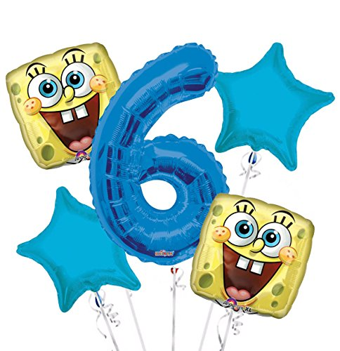 Sponge Bob Happy Face Balloon Bouquet 6th Birthday 5 pcs - Party Supplies