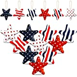 12 Pieces 4th of July Decorations Hanging Independence Day Ornaments Fabric Wrapped Hanging Star Ornament American Flag Hanging Star Ornaments for Indoor Outdoor Memorial Day Flag Day Decorations